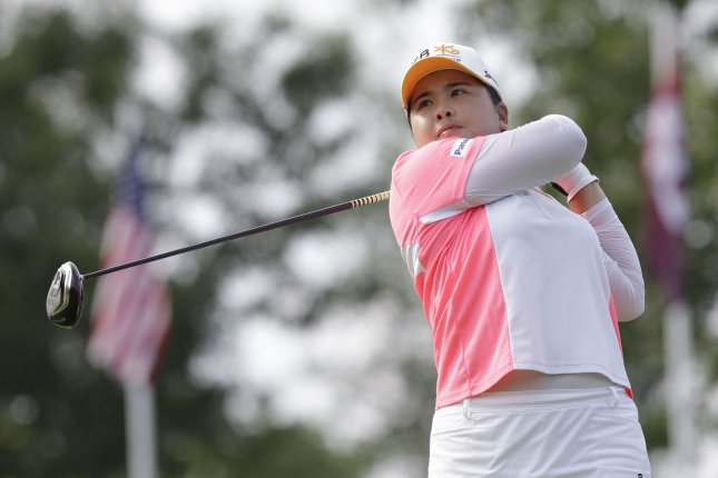 South Korea's Inbee Park made four birdies in the first six holes Friday, and she emerged with a one-shot lead over three other players after two rounds of HSBC Women's Champions in Singapore. File Photo by John Angelillo/UPI