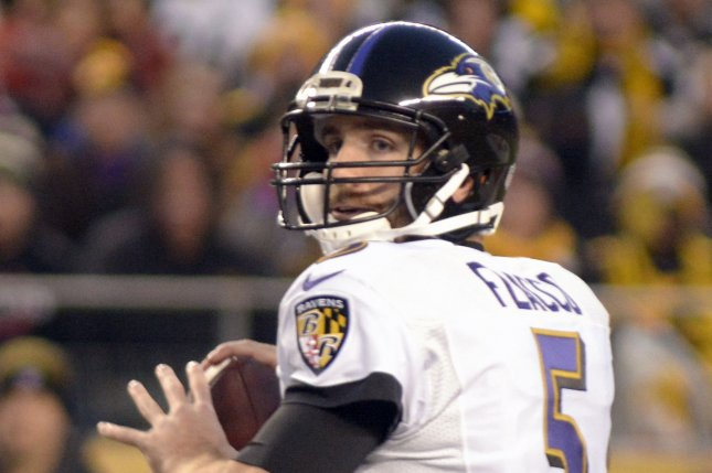 Baltimore Ravens quarterback Joe Flacco (5) steps back to pass in the first quarter against the Pittsburgh Steelers on December 25, 2016. File photo by Archie Carpenter/UPI