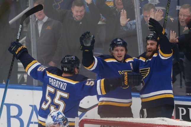 The St. Louis Blues will play the Boston Bruins in the Stanley Cup Final after defeating the San Jose Sharks in six games. File Photo by Bill Greenblatt/UPI