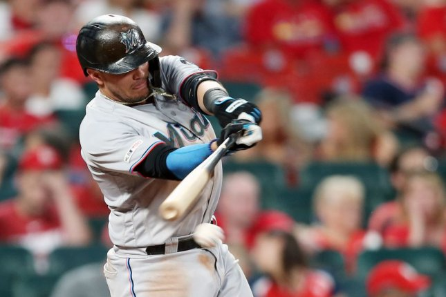 Miami Marlins veteran Miguel Rojas hit the second of back-to-back-to-back home runs for his team in the third inning of a summer camp loss to the Atlanta Braves Tuesday in Atlanta. File Photo by Bill Greenblatt/UPI