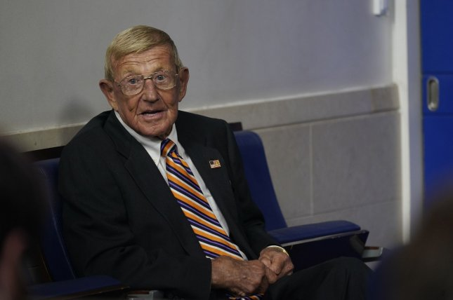 Former Notre Dame head coach Lou Holtz was elected to the College Football Hall of Fame in 2008. File Photo by Chris Kleponis/UPI