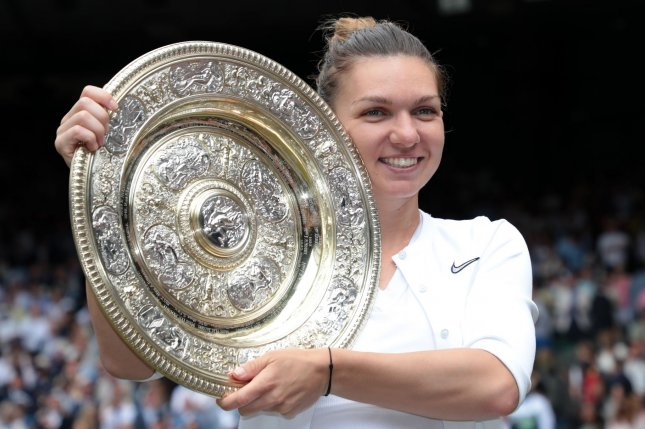 Romanian tennis star Simona Halep is expected to defend her 2019 Wimbledon title when the 2021 tournament starts June 28 in London. File Photo by Hugo Philpott/UPI