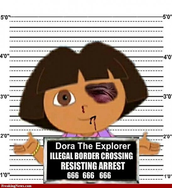 A composite satirical image of Nickelodeon cartoon character Dora the Explorer is seen in an image provided by FreakingNews.com. This image, among others, is sparking debate over the controversial immigration law passed in Arizona. UPI/FreakingNews.com (**EDITORIAL USE ONLY**)