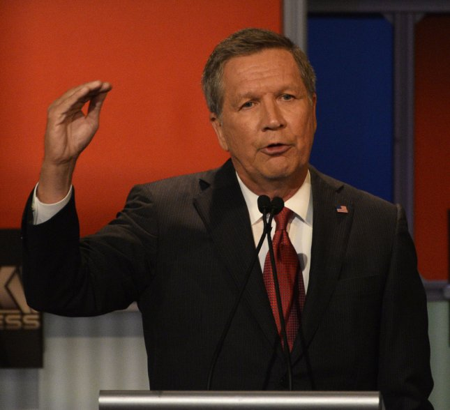 Republican presidential candidate and Ohio Gov. John Kasich called for a government agency to promote Judeo-Christian values. Photo by Brian Kersey/UPI
