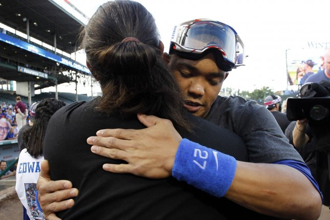 Chicago Cubs' Åddison Russell, (R) celebrates the National League Central Division championship on September 16, 2016 in Chicago, one day after they officially clinched the division when the St. Louis Cardinals lost to the San Francisco Giants. Photo by Frank Polich/UPI