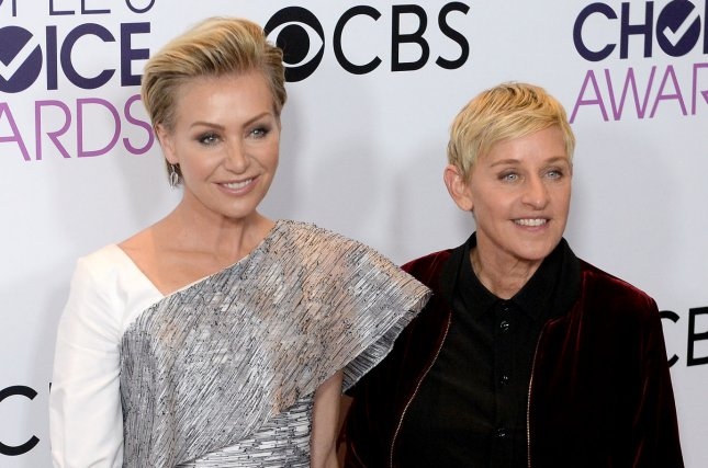Portia de Rossi (L), pictured with Ellen DeGeneres, surprised the television personality with a birthday gift Thursday. File Photo by Jim Ruymen/UPI