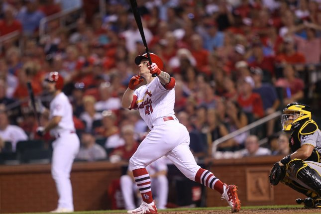 St. Louis Cardinals' Tyler O'Neill swings, hitting a two-run home run against the Pittsburgh Pirates in the fourth inning on Tuesday at Busch Stadium in St. Louis. Photo by Bill Greenblatt/UPI