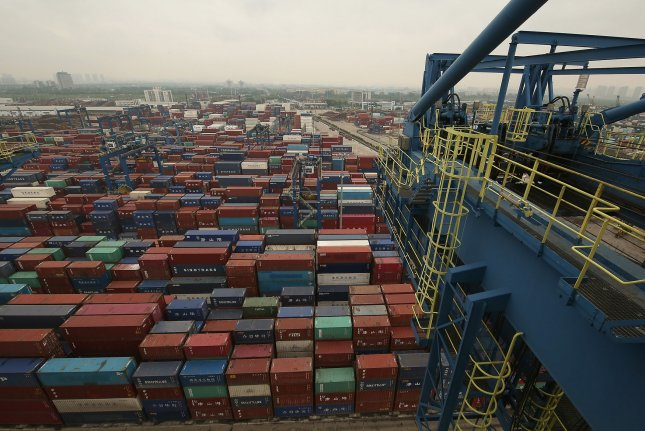 Shipping containers are seen Wednesday at Humen Port in Dongguan, Guangdong Province, China. Photo by Stephen Shaver/UPI