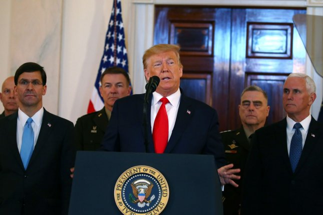 In his remarks Wednesday, President Donald Trump was flanked by his national security team, including the joint chiefs, no doubt to demonstrate administration unity. His words ranged from belligerent in tone to exaggerations and misstatement of fact. Photo by Tasos Katopodis/UPI