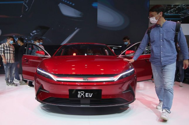 BYD's new electric vehicles were on display at the international Auto Show 2020 in Beijing on Monday, September 28, 2020. Photo by Stephen Shaver/UPI