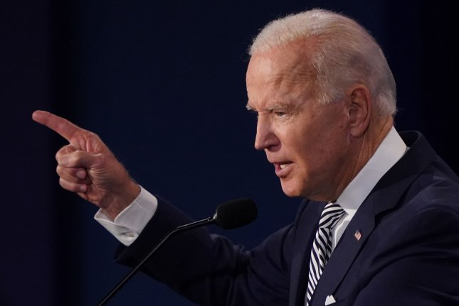 Democratic presidential nominee Joe Biden speaks on Tuesday night during the first presidential debate with President Donald Trump, at Case Western Reserve University in Cleveland, Ohio. Photo by Kevin Dietsch/UPI