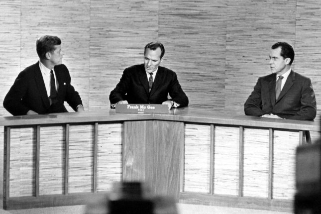 John F. Kennedy and Richard Nixon are seen here in Washington DC in this October 7, 1960 file photo during one of their televised debates. UPI/Files