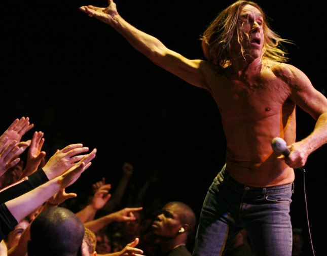 Singer Iggy Pop and his band The Stooges perform in concert at the Palais des Sports in Paris on July 3, 2007. Photo by David Silpa/UPI