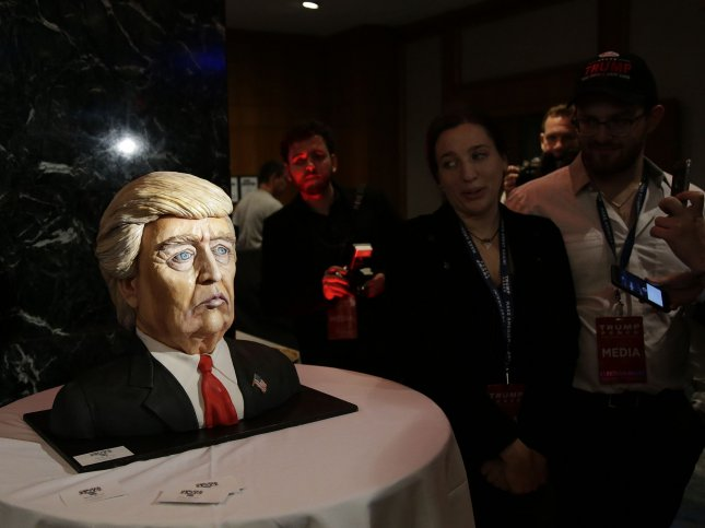 A cake made in the likeness of Republican nominee for president Donald Trump is on display on Election Day of the 2016 US Presidential Election at the New York Hilton Midtown on November 8, 2016 in New York City. Photo by John Angelillo/UPI