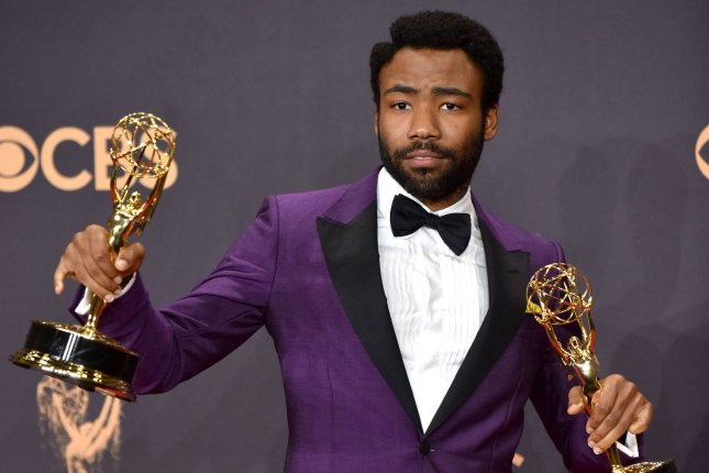 Donald Glover attends the Primetime Emmy Awards on Sunday. The actor announced in his acceptance speech for Outstanding Lead Actor in a Comedy Series that girlfriend Michelle is pregnant with another baby boy. Photo by Christine Chew/UPI