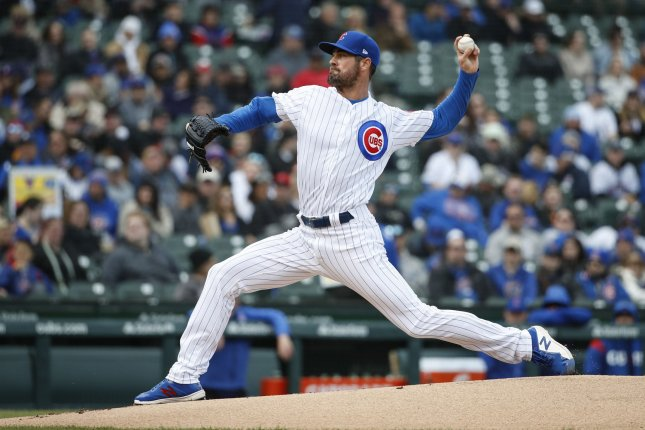 Chicago Cubs starting pitcher Cole Hamels is now 3-0 on the season after beating the Miami Marlins Wednesday in Miami. Photo by Kamil Krzaczynski/UPI