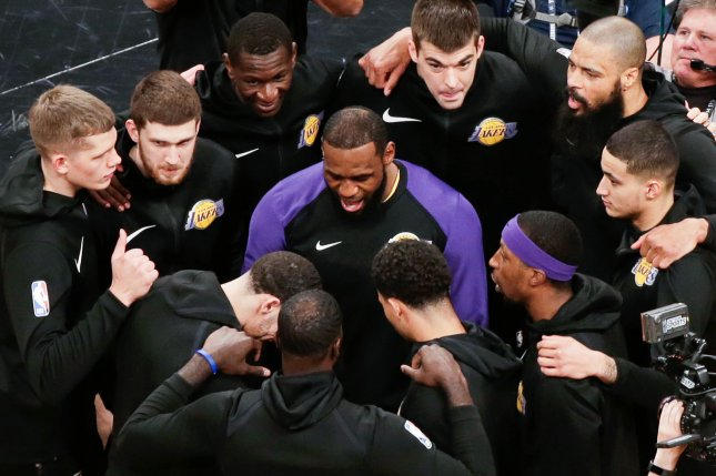 Los Angeles Lakers star forward LeBron James (C) and the Lakers will battle the Los Angeles Clippers on Oct. 22, the first day of the 2019-20 regular season. File Photo by John Angelillo/UPI