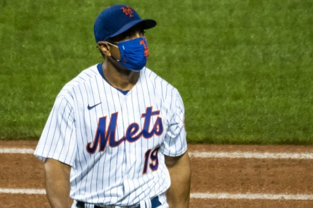 Manager Luis Rojas and the New York Mets aren't scheduled to play until Tuesday after two members of the organization tested positive for the coronavirus. File Photo by Corey Sipkin/UPI