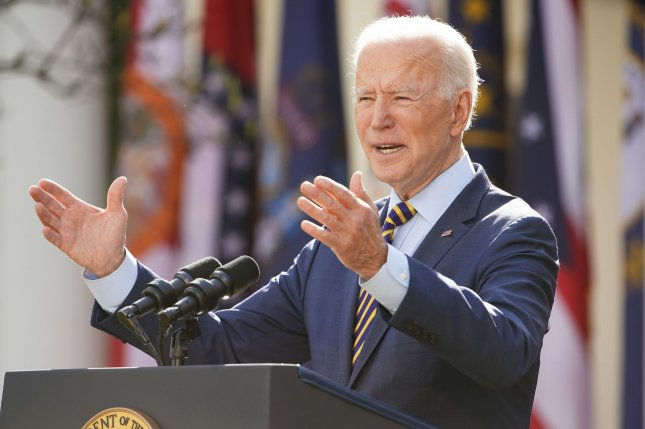 President Joe Biden delivers remarks on the American Rescue Plan from the Rose Garden on Friday. Photo by Jim Lo Scalzo/UPI