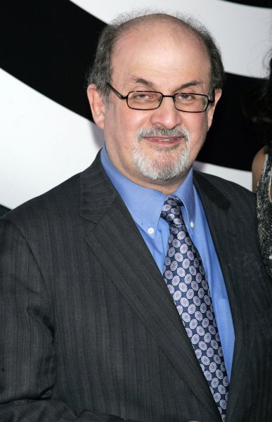 Salman Rushdie arrives for the premiere of The International at the AMC Loews Lincoln Square Theater in New York on February 9, 2009. (UPI Photo/Laura Cavanaugh)