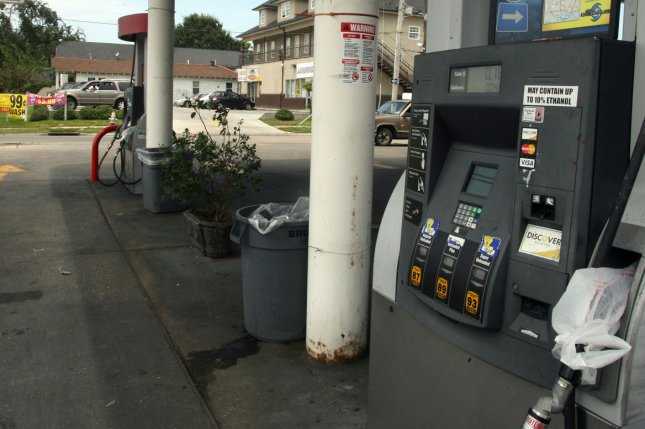 U.S. consumers may see a coming spike in retail gasoline prices and, by next year, significantly higher prices as energy markets return to balance. File Photo by A.J. Sisco/UPI