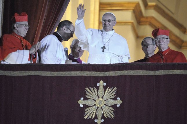 Argentina's Jorge Bergoglio, elected Pope Francis, waves from the window of St Peter's Basilica's balcony after being elected the 266th pope of the Roman Catholic Church on March 13, 2013, at the Vatican. File Photo by Stefano Spaziani/UPI