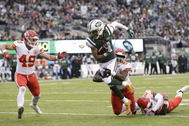 d2defeccfd1 Kansas City Chiefs defender Tanoh Kpassagnon tackles New York Jets wide  receiver Robby Anderson in Week 13 of the NFL season on December 3, 2017 at  MetLife ...