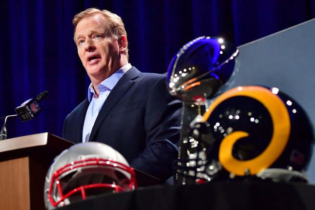 NFL Commissioner Roger Goodell discussed the state of the league's officiating and a blown call during the NFC Championship at a news conference Wednesday in advance of Super Bowl LIII in Atlanta. Photo by Kevin Dietsch/UPI