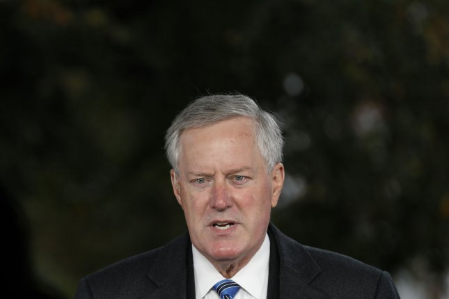 White House Chief of Staff Mark Meadows pointed to the importance of developing vaccines and therapeutics for COVID-19 Sunday as he said the United States is not going to control the contagious virus. Photo by Yuri Gripas/UPI