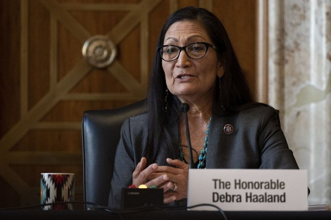 Rep. Deb Haaland, D-N.M., is shown speaking during her Senate confirmation hearing on February 23. Sen. Mark Kelly, D-Ariz., said he will support her nomination. Photo by Jim Watson/UPI
