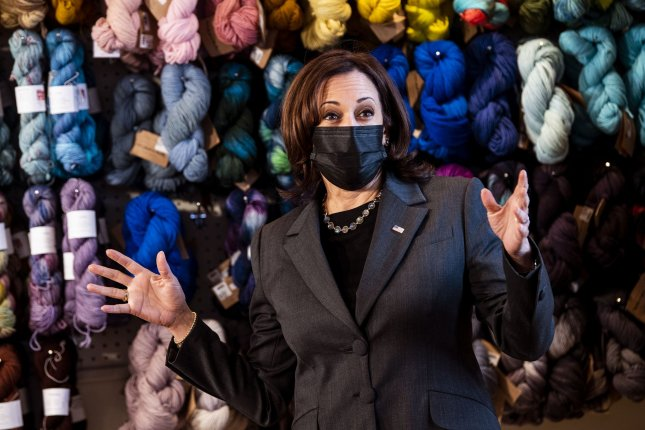 Vice President Kamala Harris said the Biden administration is monitoring the effect of the COVID-19 pandemic on women leaving the workforce as she visited Fibre Space a woman-owned yarn shop in Virginia. Photo by Kevin Dietsch/UPI
