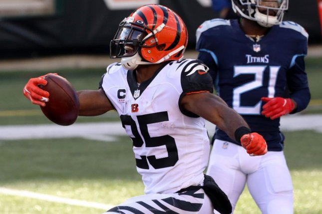 The Cincinnati Bengals released running back Giovani Bernard on Wednesday and saved $4.1 million against the salary cap in 2021. File Photo by John Sommers II /UPI