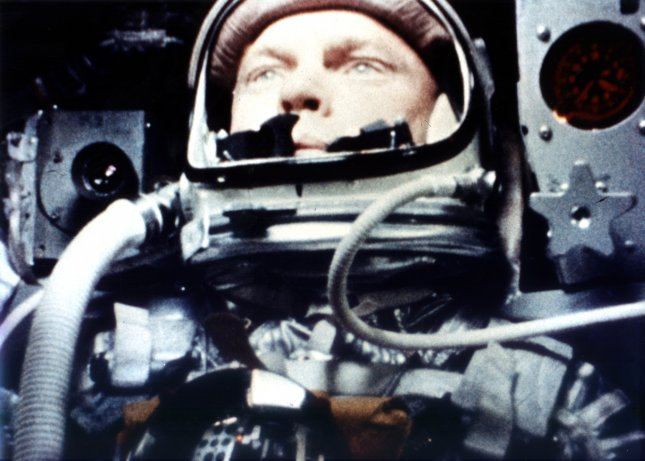 A camera on his Mercury spacecraft shows John Glenn during the Feb. 20, 1962, flight on which he became the first American to orbit Earth. NASA/File/UPI
