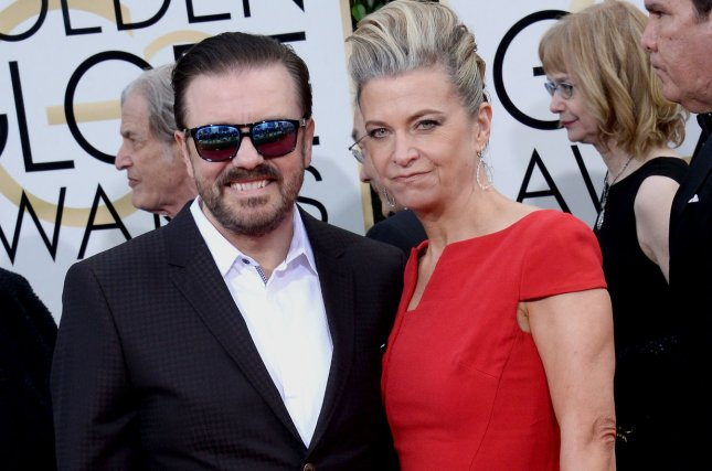 Actor Ricky Gervais, left, and Jane Fallon attend the 73rd annual Golden Globe Awards in Beverly Hills on January 10, 2016. Gervais' movie David Brent: Life on the Road is now on Netflix. File Photo by Jim Ruymen/UPI