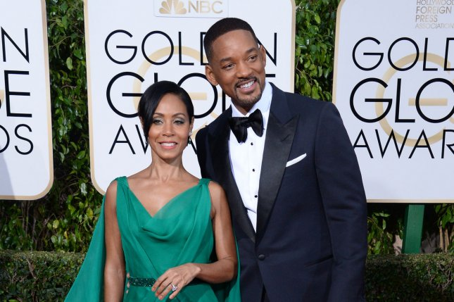 Actors Jada Pinkett Smith, left, and Will Smith attend the 73rd annual Golden Globe Awards at the Beverly Hilton Hotel in Beverly Hills on January 10, 2016. The couple celebrated their 20th wedding anniversary during the weekend. File Photo by Jim Ruymen/UPI