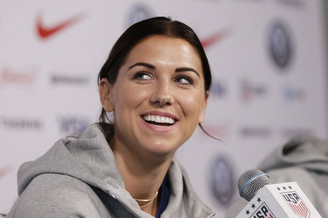 Alex Morgan of the U.S. Women's World Cup soccer team announced that she is expecting a daughter next April. File Photo by John Angelillo/UPI