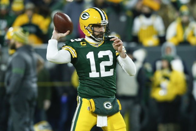 Green Bay Packers quarterback Aaron Rodgers voted against the terms of the newly-proposed collective bargaining agreement Tuesday, but the agreement will go onto a full player vote.  Photo by Nuccio DiNuzzo/UPI