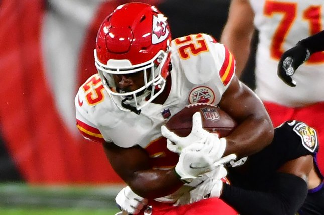 Kansas City Chiefs running back Clyde Edwards-Helaire had 161 yards on 26 carries in a win over the Buffalo Bills on Monday in Orchard Park, N.Y. File Photo by David Tulis/UPI