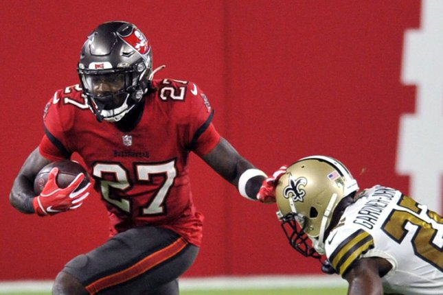 Tampa Bay Buccaneers running back Ronald Jones II, the No. 4 rusher in the NFL, has his status in doubt for Week 15 after he had finger surgery. File Photo by Steve Nesius/UPI
