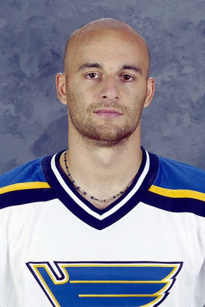 Former St. Louis Blues Hockey player Pavol Demitra, shown in this 4/9/2003 file photo was among 36 members of the KHL's Lokomotiv organization that were killed when their KHL charter plane crashed near Yaroslavl, Russia on September 7, 2011. Former NHL players on the Lokomotiv roster include: Pavol Demitra, Karlis Skrastins, Ruslan Salei, Karel Rachunek and head coach Brad McCrimmon. One person reportedly survived the crash. UPI/FILES