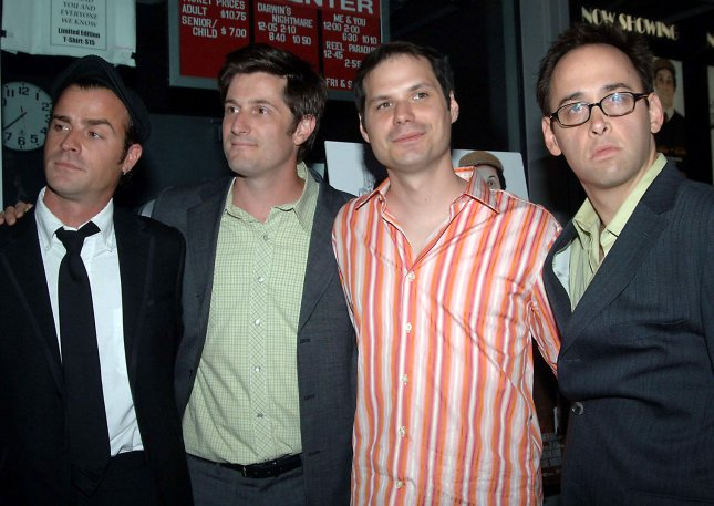 Cast members of the Baxter film Justin Theroux, Michael Showalter, Michael Ian Black and David Wain pose at the August 24th, 2005 New York premiere for their film The Baxter (UPI Photo/Ezio Petersen)