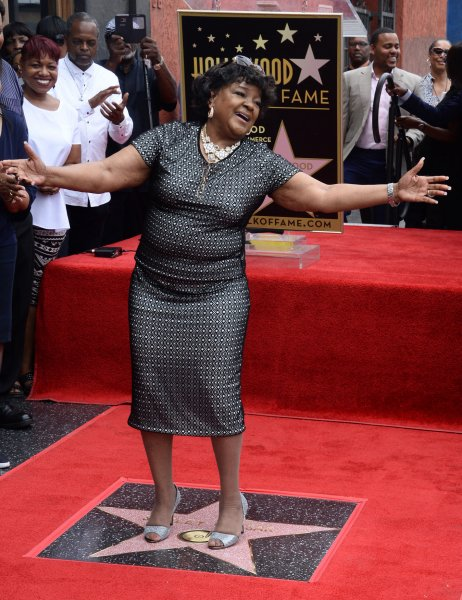 Gospel singer Shirley Caesar strikes a pose atop her star during an unveiling ceremony honoring her with the 2,583rd star on the Hollywood Walk of Fame in Los Angeles on Tuesday. Photo by Jim Ruymen/UPI