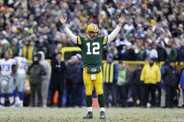 The Green Bay Packers and quarterback Aaron Rodgers play the Dallas Cowboys in one of the marquee games in NFL Week 6. Photo by Jeffrey Phelps/UPI