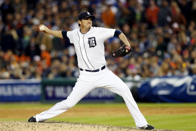 Former Detroit Tigers relief pitcher Joe Nathan throws a pitch in the ninth inning against the Baltimore Orioles in game 3 of the American League Division Series at Comerica Park in Detroit, Michigan on October 5, 2014. The Orioles defeated the Tigers 2-1 and sweep the best of 5 series 3-0. UPI/Rebecca Cook