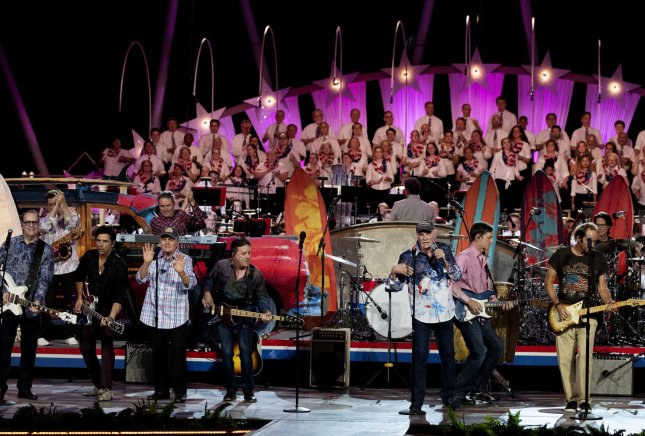 The Beach Boys with lead singer Brian Wilson (C) perform during a dress rehearsal for the Capitol Fourth concert in Washington, DC on Tuesday. Photo by Pat Benic