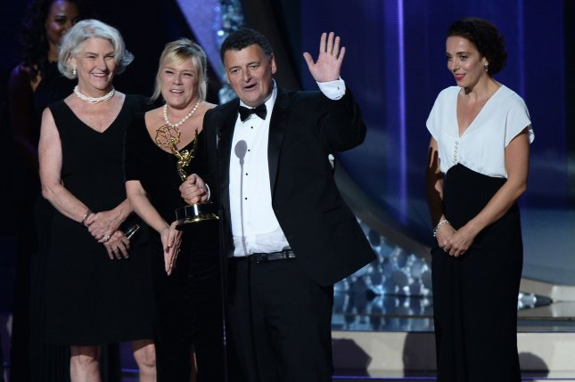 (L-R) Producers Rebecca Eaton, Sue Vertue, Steven Moffat and Amanda Abbington accept the award for Outstanding Television Movie for PBS' Sherlock: The Abominable Bride at the 68th annual Primetime Emmy Awards in Los Angeles on September 18, 2016. Moffat is now working on a project for HBO. File Photo by Jim Ruymen/UPI