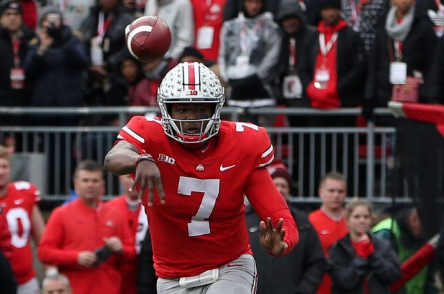Former Ohio State quarterback Dwayne Haskins met with Giants head coach Pat Shurmur, offensive coach Mike Shula, vice president of player evaluation Chris Mara, director of college scouting Chris Pettit and assistant general manager Kevin Abrams. File Photo by Aaron Josefczyk/UPI
