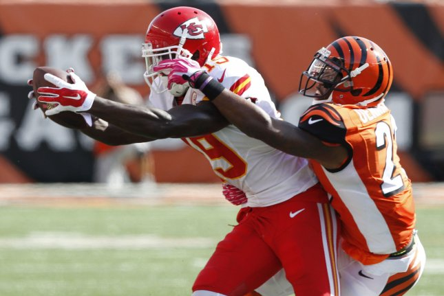 Cincinnati Bengals cornerback Darqueze Dennard (21) played in 13 games with the team last season and recorded 67 total tackles and six passes defensed. File Photo by John Sommers II/UPI