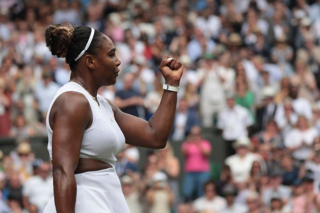 American Serena Williams celebrates a point in her quarterfinal match against American Alison Riske on Tuesday at Wimbledon. Williams won the match 6-4, 4-6, 6-3. Photo by Hugo Philpott/UPI