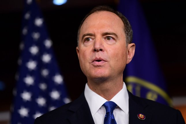 House Intelligence Committee Chairman Adam Schiff, D-Calif., speaks at a press briefing on the impeachment proceedings into President Donald Trump, on Capitol Hill on October 2. Public hearings begin Wednesday. File photo by Kevin Dietsch/UPI